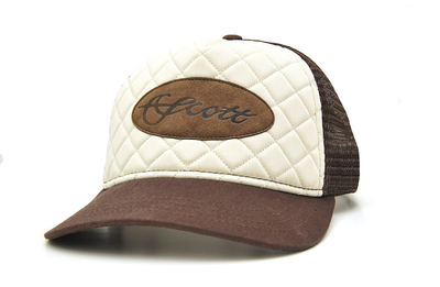 QUILTED LEATHER  PATCH TRUCKER